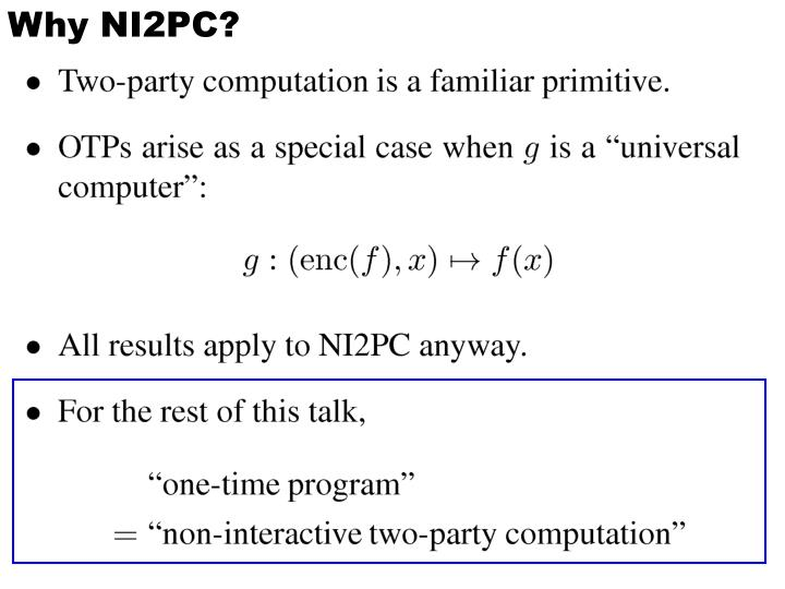 Why NI2PC?