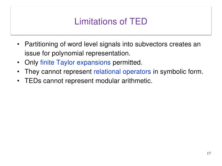 Limitations of TED