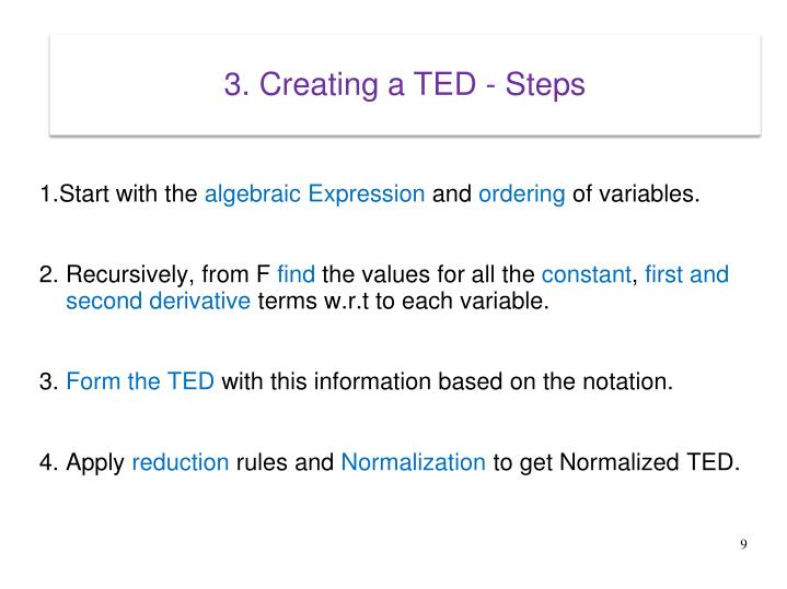 3. Creating a TED - Steps
