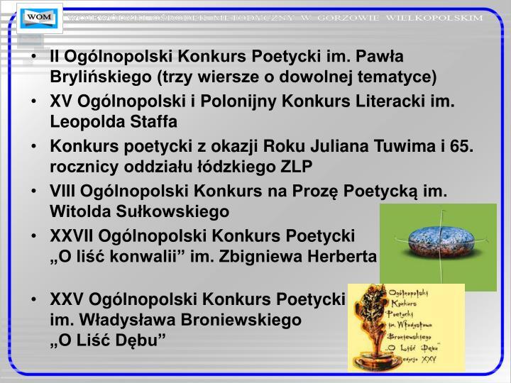 II Ogólnopolski Konkurs Poetycki im. Pawła Brylińskiego (trzy wiersze o dowolnej tematyce)