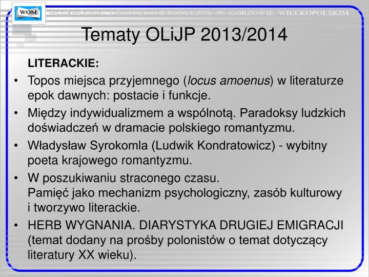 Tematy OLiJP 2013/2014