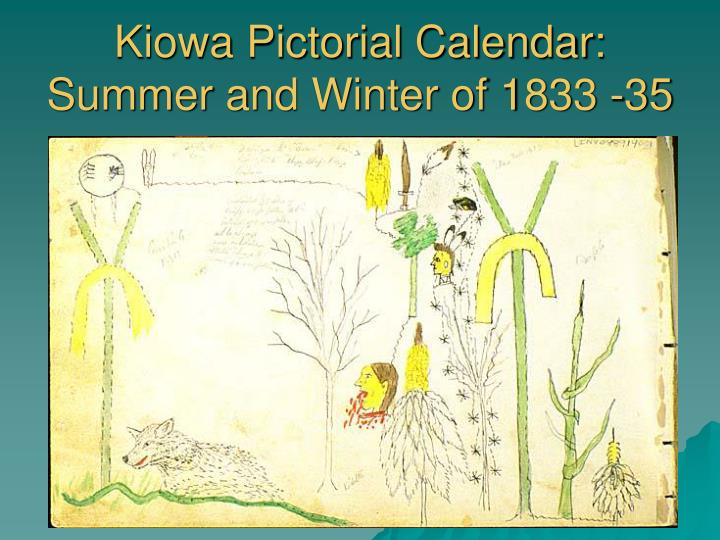 Kiowa Pictorial Calendar: Summer and Winter of 1833 -35