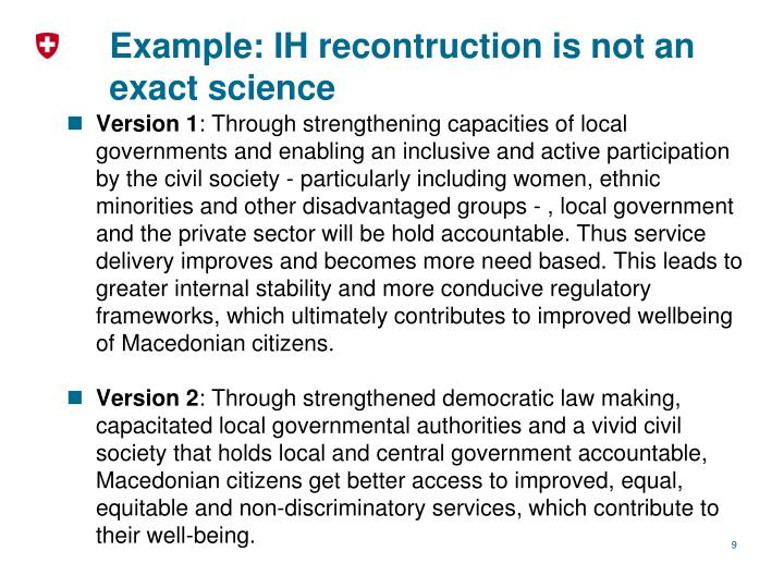 Example: IH recontruction is not an exact science