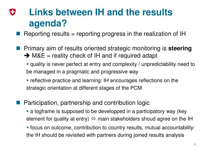 Links between IH and the results agenda?