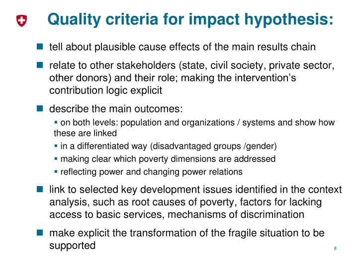 Quality criteria for impact hypothesis: