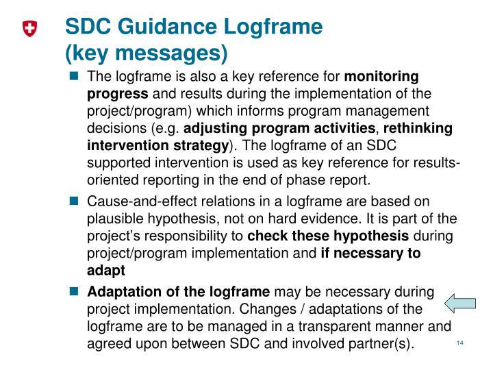SDC Guidance Logframe