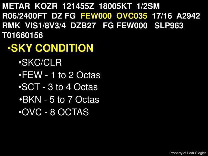 METAR  KOZR  121455Z  18005KT  1/2SM  R06/2400FT  DZ FG