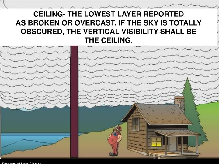 CEILING- THE LOWEST LAYER REPORTED