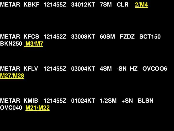 METAR  KBKF121455Z   34012KT   7SM   CLR