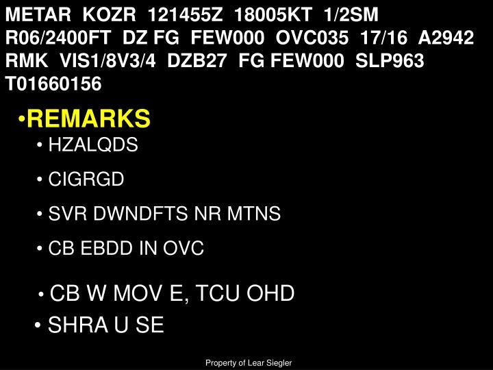 METAR  KOZR  121455Z  18005KT  1/2SM  R06/2400FT  DZ FG  FEW000  OVC035  17/16  A2942  RMK  VIS1/8V3/4  DZB27  FG FEW000  SLP963   T01660156