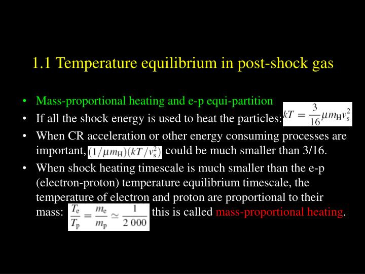 1.1 Temperature equilibrium in post-shock gas