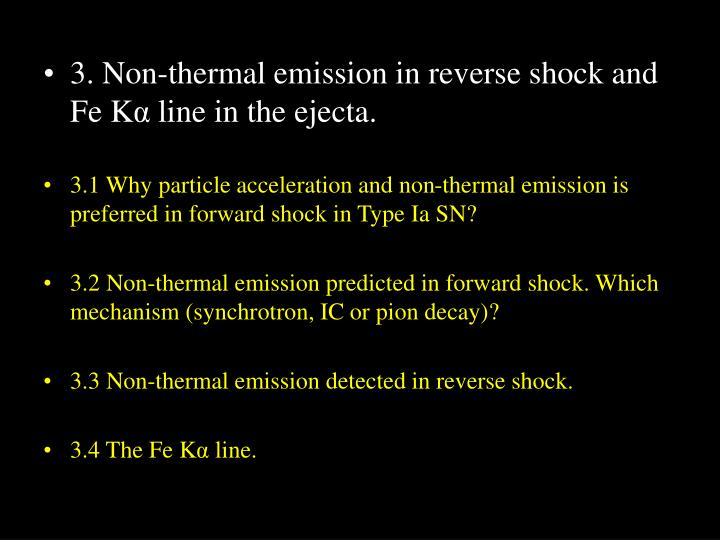3. Non-thermal emission in reverse shock and Fe K