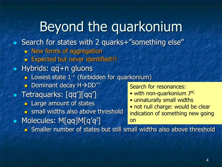 Beyond the quarkonium