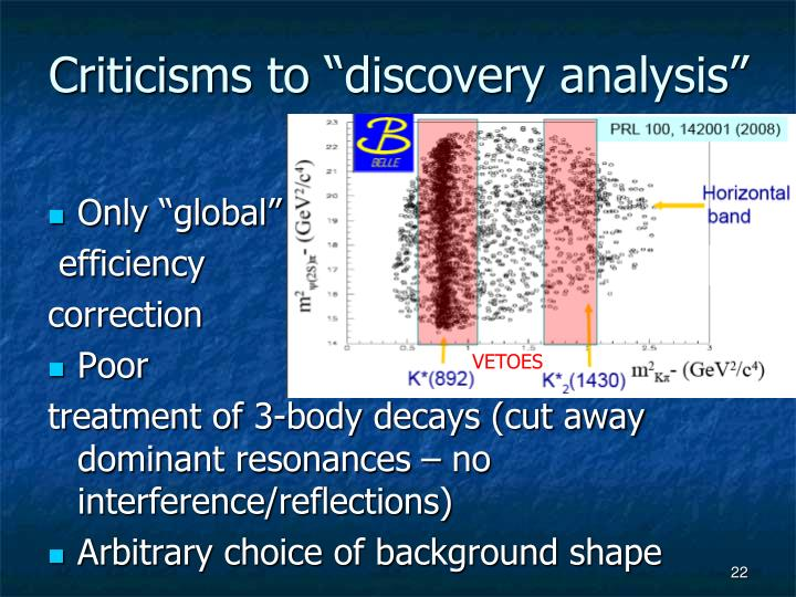 """Criticisms to """"discovery analysis"""""""