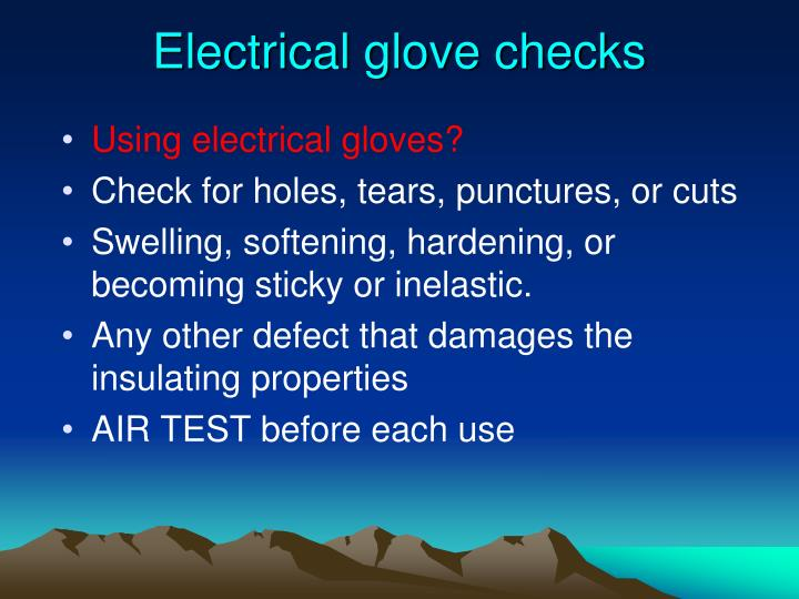 Electrical glove checks