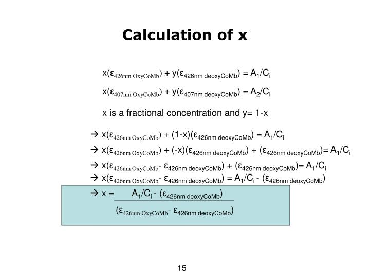 Calculation of x