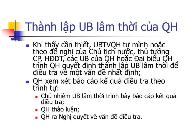 Thành lập UB lâm thời của QH