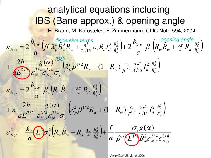 analytical equations including