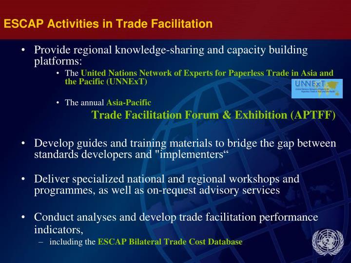 ESCAP Activities in Trade Facilitation