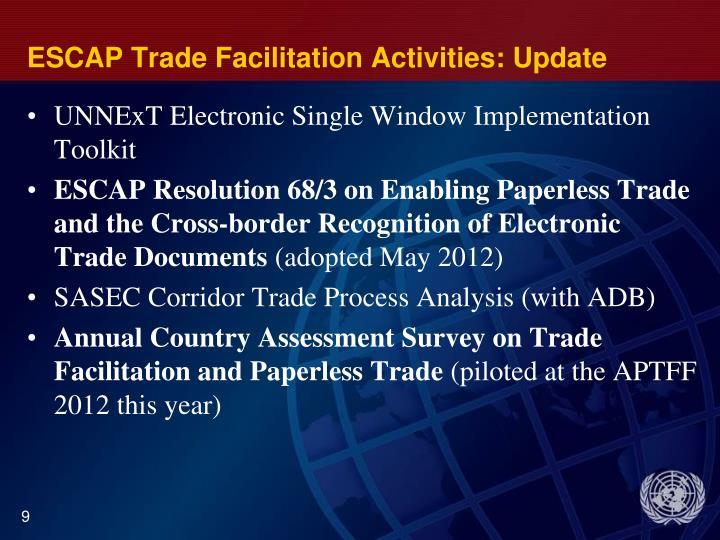 ESCAP Trade Facilitation Activities: Update