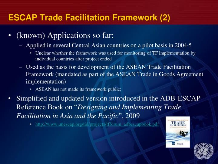 ESCAP Trade Facilitation Framework (2)