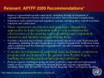 relevant aptff 2009 recommendations