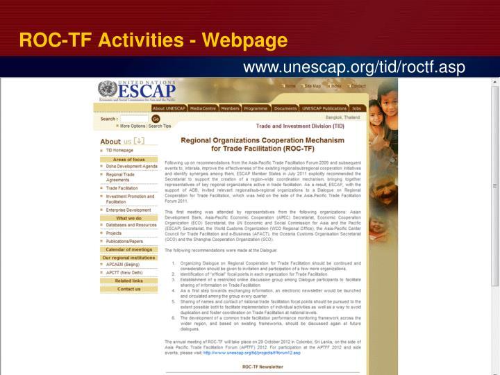 ROC-TF Activities - Webpage