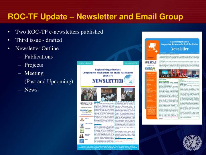ROC-TF Update – Newsletter and Email Group
