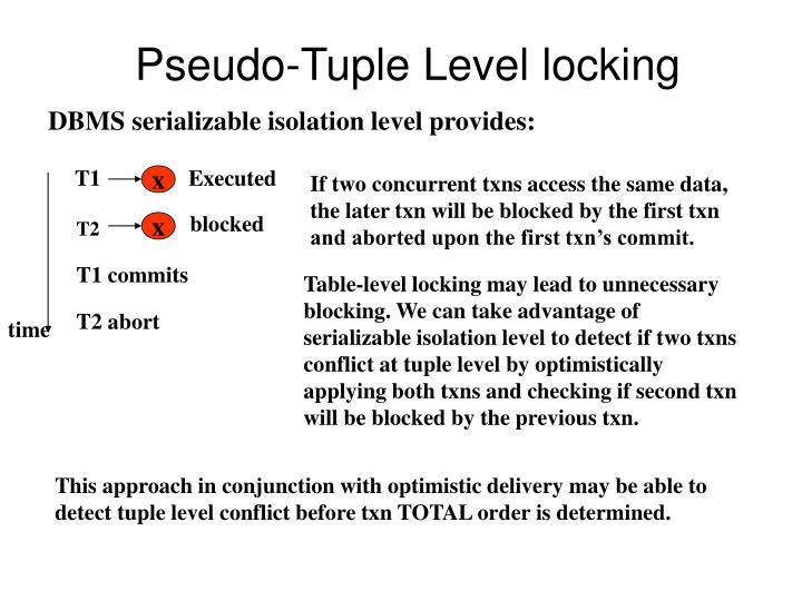 Pseudo-Tuple Level locking