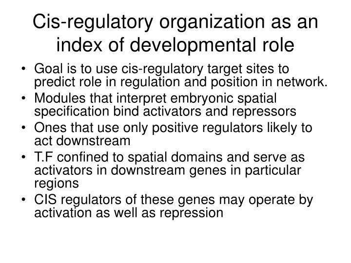 Cis-regulatory organization as an index of developmental role