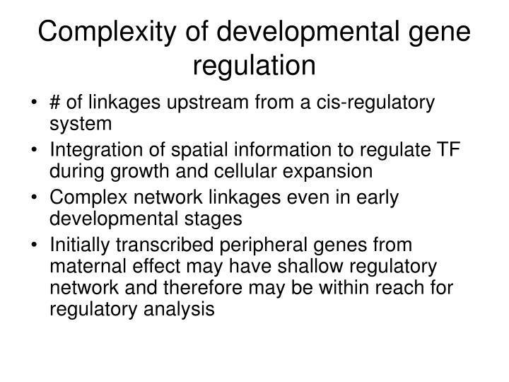Complexity of developmental gene regulation