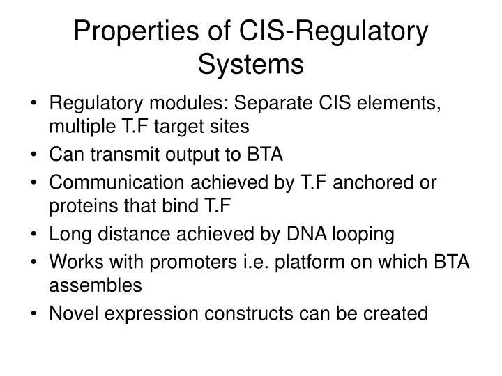 Properties of CIS-Regulatory Systems