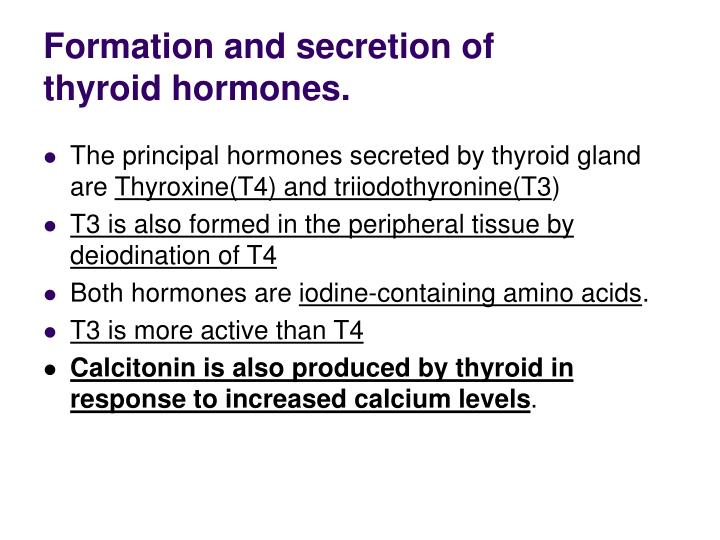 Formation and secretion of thyroid hormones.