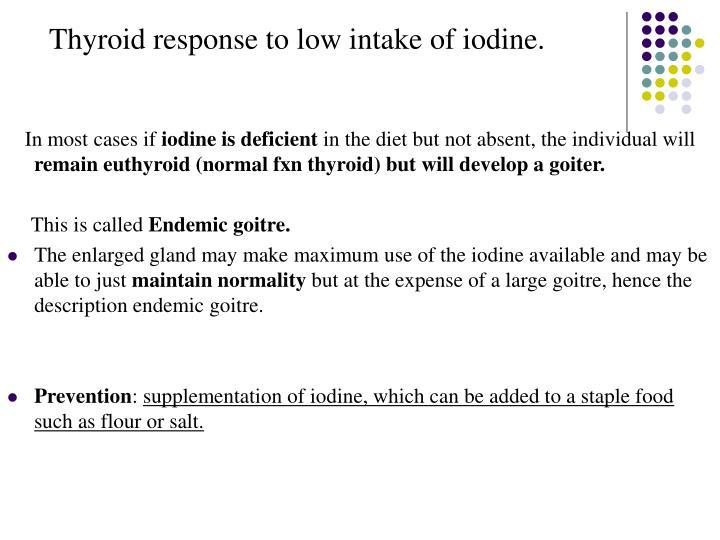Thyroid response to low intake of iodine.