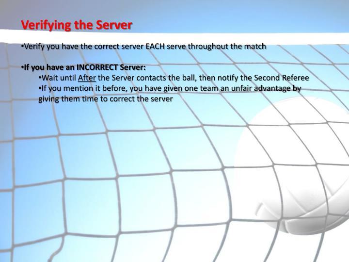 Verifying the Server