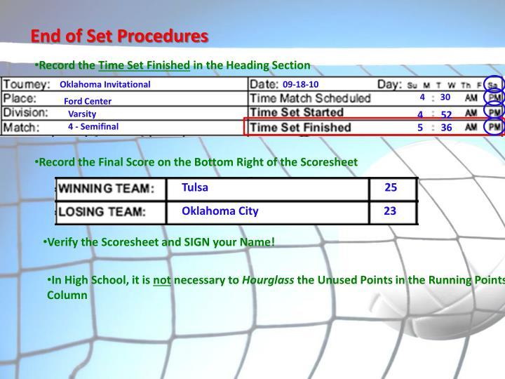 End of Set Procedures