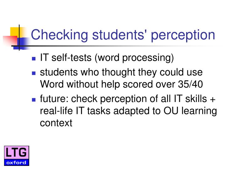 Checking students' perception