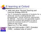 e learning at oxford