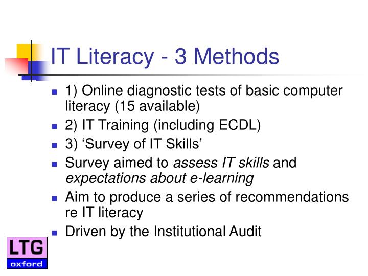 IT Literacy - 3 Methods