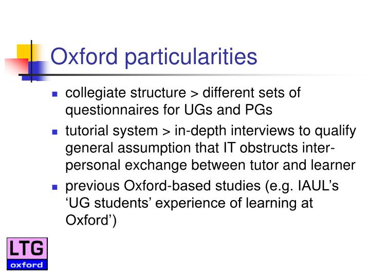 Oxford particularities