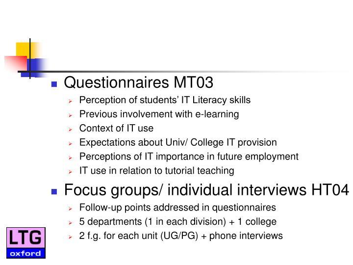 Questionnaires MT03