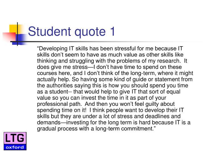 Student quote 1