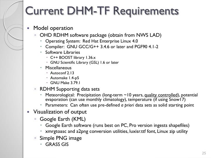 Current DHM-TF Requirements