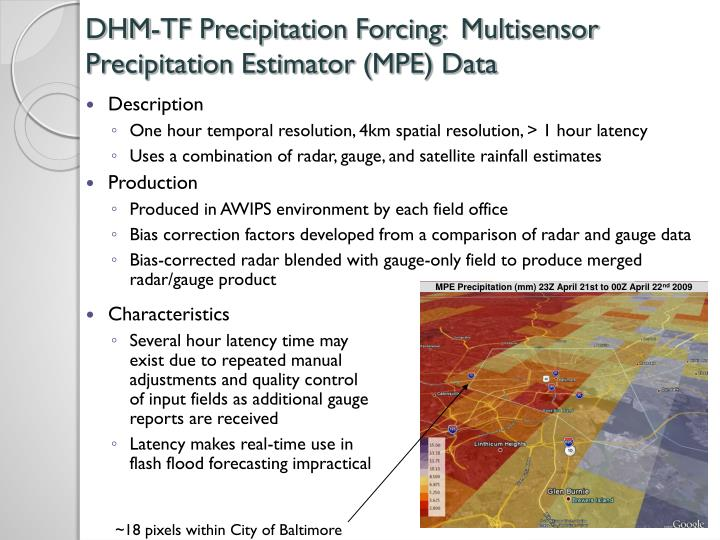 DHM-TF Precipitation Forcing:  Multisensor Precipitation Estimator (MPE) Data
