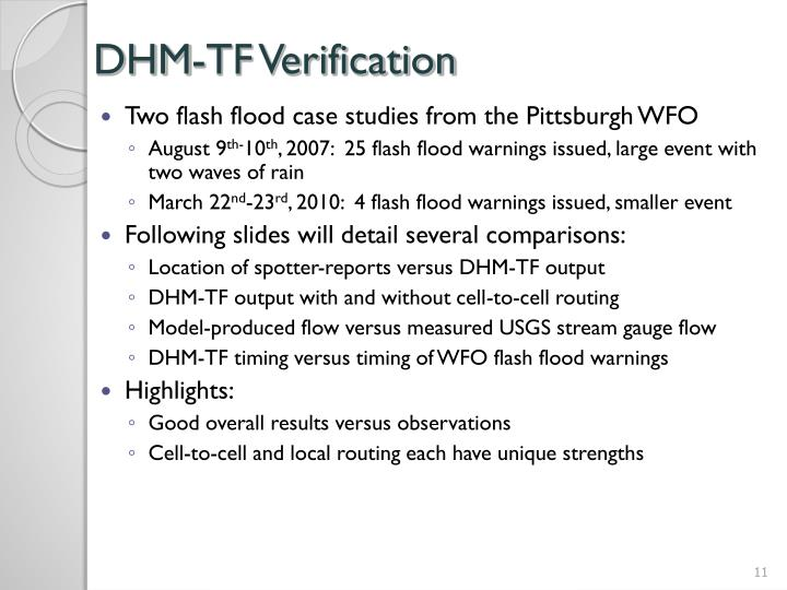DHM-TF Verification