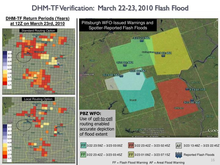 DHM-TF Verification:  March 22-23, 2010 Flash Flood