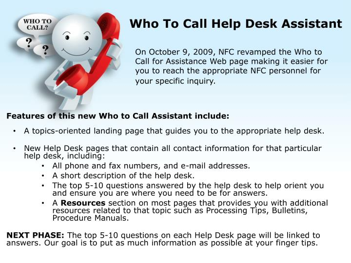 Who To Call Help Desk Assistant