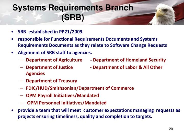Systems Requirements Branch (SRB)