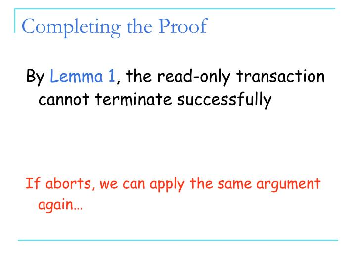 Completing the Proof