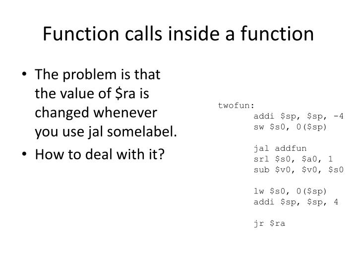 Function calls inside a function